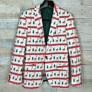 Suslo Couture Suit Jacket White Red Christmas S 38
